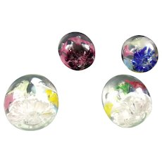 4 Beautiful Trumpet Flower Paperweights by Joe St. Clair