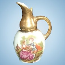 Sweet Limoges Miniature Pitcher with Gold Handle and Trim