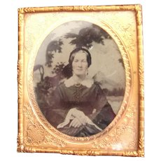 A Very Different Tin Type Photo of a Lady with Landscaped Scene