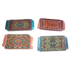 4 Antique Small Dollhouse Rugs