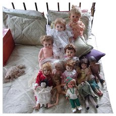 14 Vintage Dolls In A Large Group