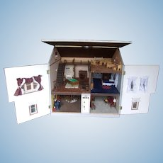 Great Vintage Dollhouse with Furniture and Miniatures