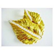 Signed Vintage MIRIAM HASKELL large brooch  Leaf & Simulated Pearls