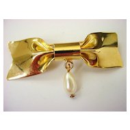 Signed MIRIAM HASKELL Bow Brooch with Dangling Simulated Pearl