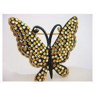 Vintage Signed KRAMER Rhinestone Butterfly Brooch