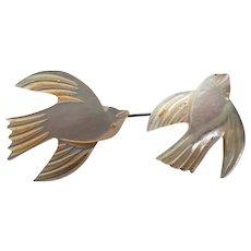 Vintage MOTHER OF PEARL JABOT carved birds in flight