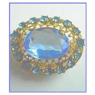 Vintage Signed CZECHOSLOVAKIAN Beautiful Sparkling Blue Pin