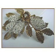 FABULOUS! Ornate Vintage Leaf Rhinestones  Brooch - Big Showy