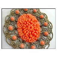 Early Vintage CELLULOID Coral Chrysanthemum Necklace
