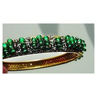 Exquisitely Beaded Signed MIRIAM HASKELL RICH EMERALD GREEN & Rhinestone Vintage Bracelet
