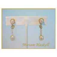 MIRIAM HASKELL Signed Vintage Simulated Pearl & Crystal Drop Earrings Vintage Beauties!