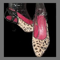 Vintage Ungaro Pony Hair & Leather Sling Back Pumps ~ Paris