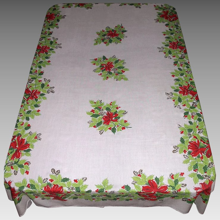 large vintage christmas tablecloth bells bows