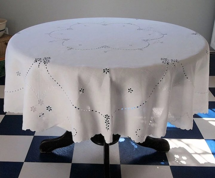 Vintage Swiss White Cotton Round Tablecloth ~ Eyelet U0026 White Embroidery ~  Large ...