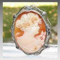 Vintage Carved Shell Cameo Pin in Silver Frame