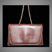 Vintage Faux Reptile Chocolate Brown Convertible Purse ~ 1960s