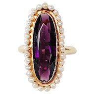 14kt Purple Glass and Cultured Pearl Ring