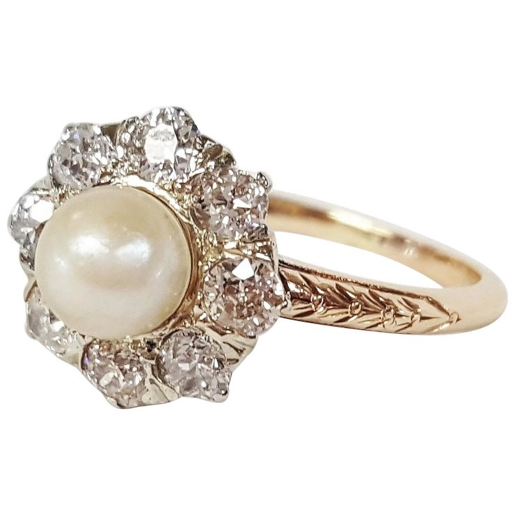 ring rings half white gold pearl aaa quality diamond engagement eternity and real akoya