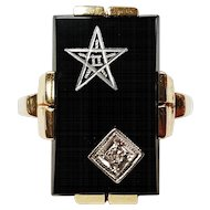 10kt Masonic Star and Diamond Black Onyx Ring