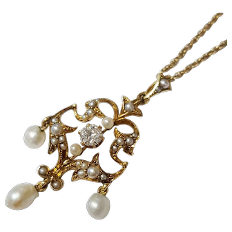 14kt Pearl and Diamond Lavalier