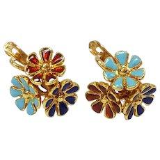 18kt Enameled Floral Earrings, Circa 1960