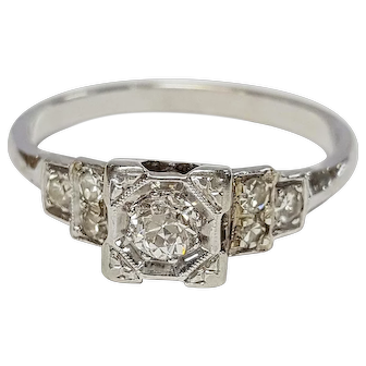 Art Deco 14kt Diamond Ring