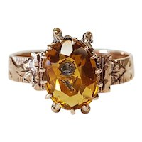 Victorian Citrine and Diamond Flower Ring