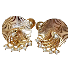Tiffany and Co. 14kt Cultured Pearl Spinner Style Earrings