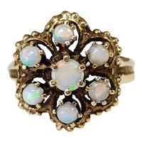14kt Opal Flower Ring