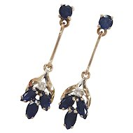 14kt Sapphire and Diamond Dangle Earrings
