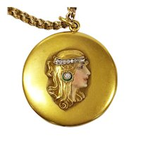 14kt Art Nouveau Diamond Locket with Victorian Chain