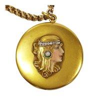 14kt Art Nouveau Diamond Locket with Victorian Chain