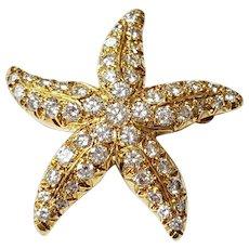 18kt Diamond Starfish Brooch