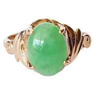 18kt Gold Ring with Jade Cabochon
