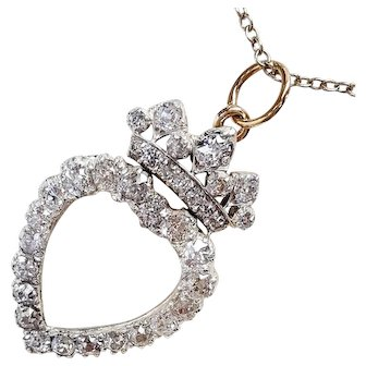 14kt and S.S. Diamond Heart and Crown Pendant