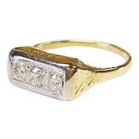 14kt Two-tone Diamond Ring, Circa 1900
