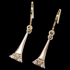 14kt Diamond Eiffel Tower Motif Earrings