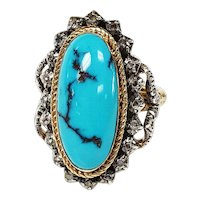 Early-Victorian Natural Turquoise and Rose cut Diamond Ring