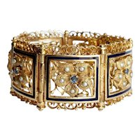Victorian 14kt Sapphire, Pearl and Enamel Floral Bracelet