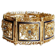 Victorian 14kt Sapphire, Pearl and Enamel Floral Bracelet