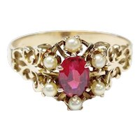 Victorian 14kt Ruby Glass and Cultured Pearl Ring