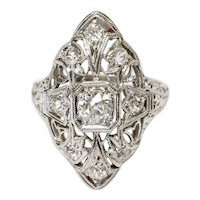 Edwardian Plat. Diamond Ring