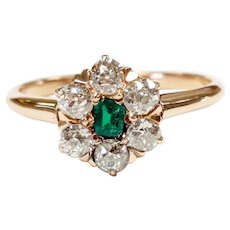 Victorian 14kt Emerald and Diamond Ring