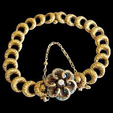 Victorian 14kt Floral Enamel Bracelet