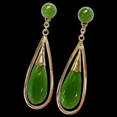 14kt Jade Drop Earrings
