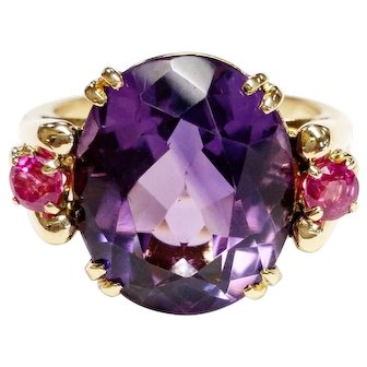 14kt Amethyst and Ruby Ring