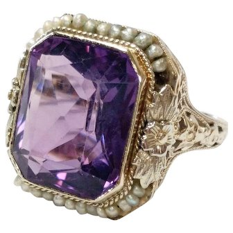 14kt Amethyst and Seed Pearl Halo Ring