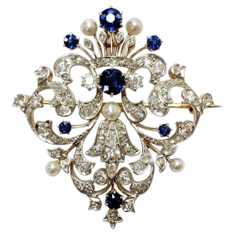 Late-Victorian Diamond and Sapphire Brooch/Pendant
