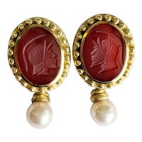 18kt Carved Carnelian Stone and Pearl Earrings