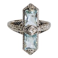 Edwardian 14kt Aquamarine and Diamond Ring